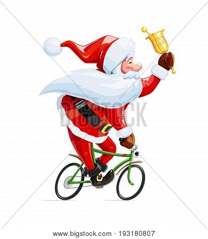 Santa claus with bell at bicycle. Christmas cartoon character. Old-man drive cycle to new year celebration. Winter holiday. Isolated white background. Vector illustration.