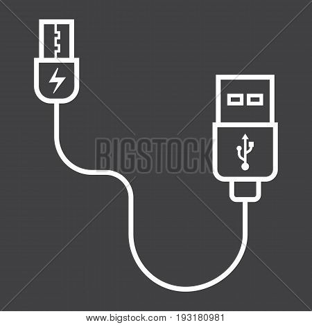 USB cable line icon, connector and charger, vector graphics, a linear pattern on a black background, eps 10.