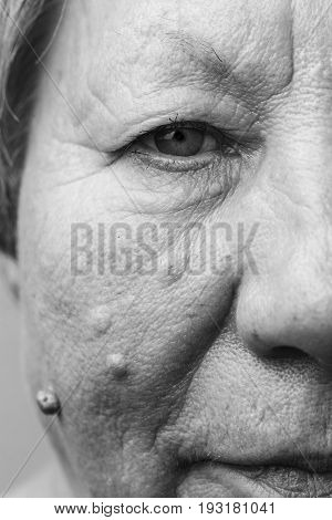 Elderly Pensioner Female Half Face Portrait Closeup