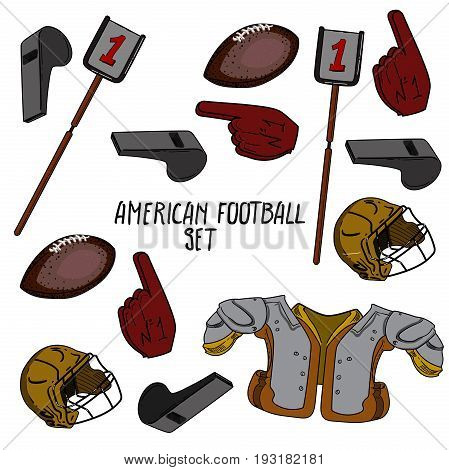 Hand drawn American Football collection. Vector illustration, EPS 10
