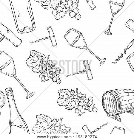 Hand drawn pattern of wine. Winemaking. Vector illustration, EPS 10