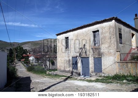 Gokceada, Turkey - May 01, 2016: Derekoy village homes in Gokceada island, Canakkale, Turkey