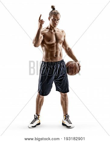 Sporty man pointing his finger up. Photo of young man shirtless with ball isolated on white background. Full length. Strength and motivation
