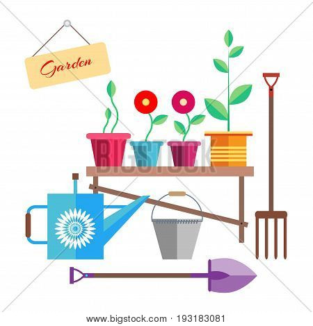 Garden. Flowers and a seedling in a pot are on the bench. Watering can, bucket, shovel and rake. Placard with the inscription Garden . Illustration in the style of flat.