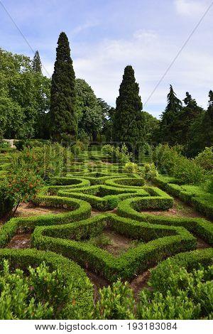 National Palace of Queluz. Old Maze garden in Queluz garden. Baroque Rococo benchmark garden in Portugal. Masterpiece of landscape design 18th century