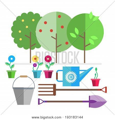 Garden. Fruit trees. Seedlings flowers in pots. Garden tools bucket, watering can, forks, shovel. Illustration in the style of flat