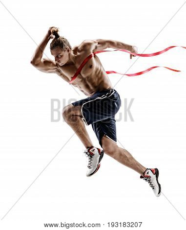 Dynamic running man crossing finish line. Photo of young male isolated on white background. Competition event. Sport and healthy lifestyle illustration for your design.