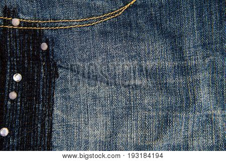 Jeans Texture Background. Part Of The Blue Jeans