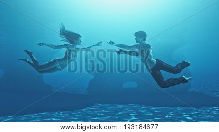 Dancing couple under water. This is a 3d render illustration.