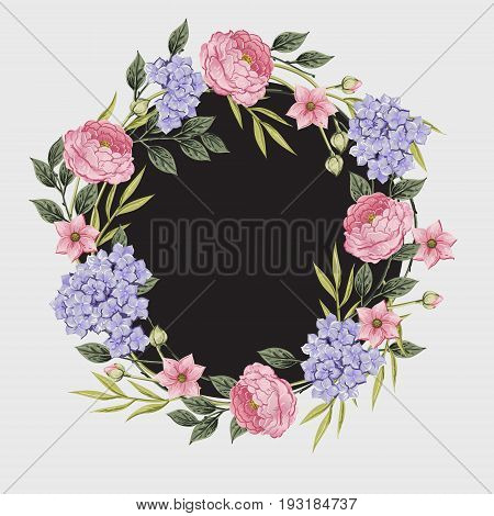 Smmer Vintage Floral Greeting Card with Blooming Hydrangea and garden flowers, Vintage vector illustration. Classic. pastel color. wreath shape botanical Illustration in watercolor style.u