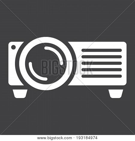 Projector solid icon, presentation and meeting, vector graphics, a glyph pattern on a black background, eps 10.