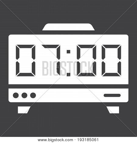 Digital clock solid icon, electronic and alarm, vector graphics, a glyph pattern on a black background, eps 10.