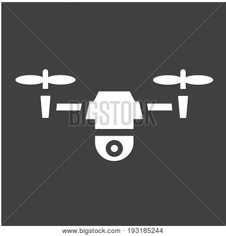 Drone solid icon, fly and copter, vector graphics, a glyph pattern on a black background, eps 10.