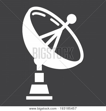 Satellite Dish solid icon, antenna and radar, vector graphics, a glyph pattern on a black background, eps 10.