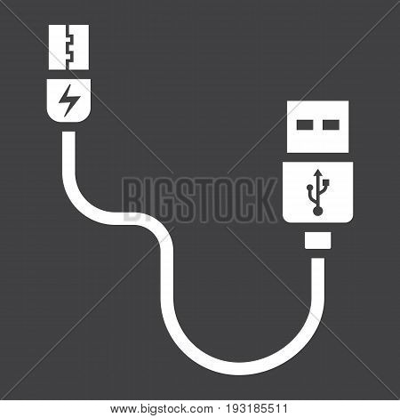 USB cable solid icon, connector and charger, vector graphics, a glyph pattern on a black background, eps 10.