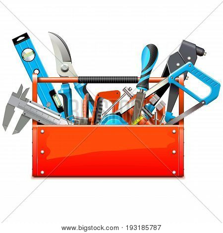 Vector Toolbox with Hand Tools isolated on white background