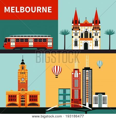 Symbols of Melbourne city Australia made from different parts