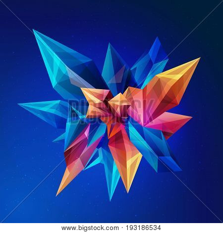 Magic crystal. Crystal asteroid. Abstract geometric figure in outer space. vector abstract crystal 3d faceted geometric origami space background, futuristic banner. Facets design. Vector illustration