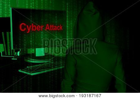 Cyber attack or Internet security concept background,3d illustration