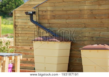 Green Recovery Of Rainwater Outside In Town Garden