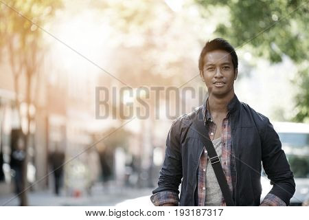 Handsome guy walking in the streets of Greenwich village