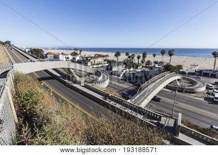 Santa Monica, California, USA - June 26, 2017:  Newly completed bicycle and pedestrian bridges over Pacific Coast Highway and the California Include.