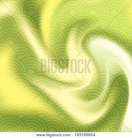 Abstract Green And Yellow Interweave Smooth Twist Background