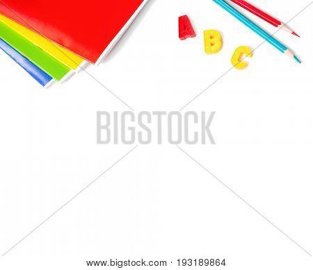 School stationery  isolated on white background.