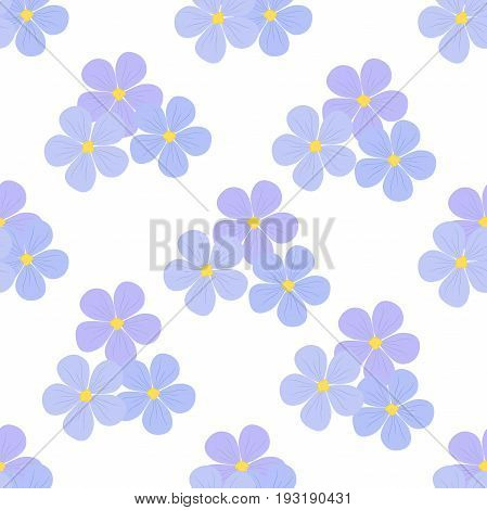 Flax flowers seamless pattern. Cosmetics medical plant. Natural nutrition. Made in cartoon flat style
