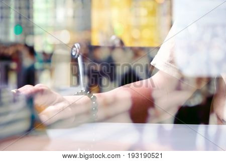 Abstract image of working time, double exposure