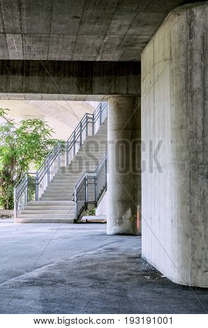 Under the highway, Urban city scene with stairs
