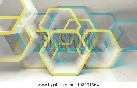 Abstract Hexagonal Structure, Blue And Yellow 3D