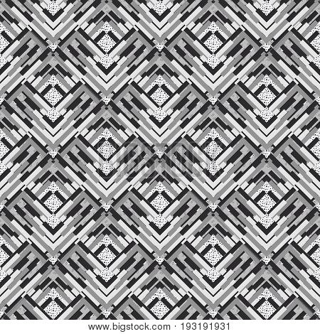 Seamless background. Retro backdrop. Memphis graphic. Avant-garde print. Vintage wallpaper. Bauhaus illustration. Black and white ornament. Hipster art. Monochrome  design. Geometry pattern. Vector.