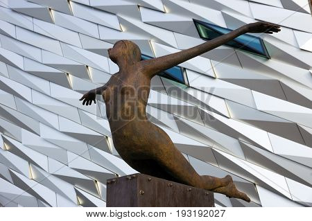 BELFAST NORTHERN IRELAND - FEB 9 2014: Sculpture in fron of the Titanic visitor monument.