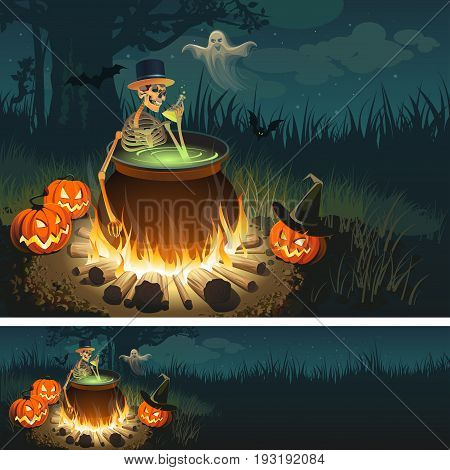 Halloween illustration with a bonfire, a skeleton, a Ghost, Pumpkins and a bats.