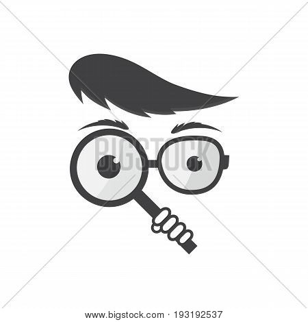The detective holds a magnifying glass in his hand. A man with spectacles. Vector icon for search engine