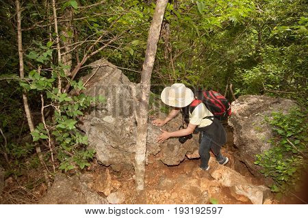 Pretty Asian woman hiking and climbing on trekking of mountains adventure and traveling.