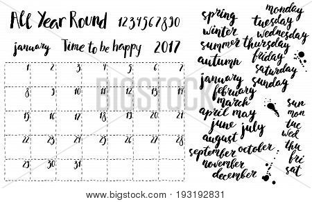 Hand written ink monthly planner template and calendar elements. Month season and week days names numbers. Brush lettering with curved baseline.