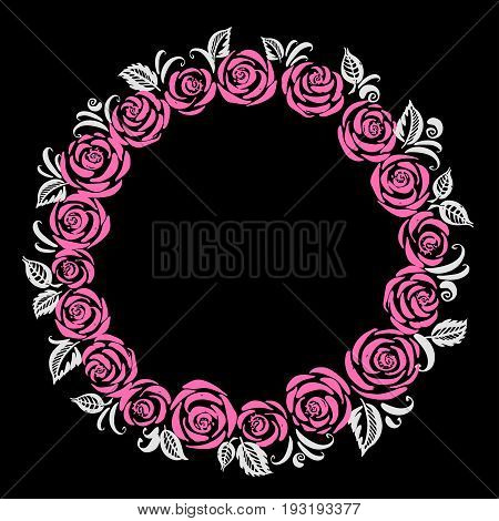 Hand drawn floral wreath with roses and leaves in pink and white colors. Round frame for wedding card or invitation.