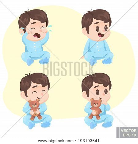 Vector Illustration Cute Cartoon Baby Boy In Pajamas With Teddy Bear Happy Sad Calm, Crying, Laughin
