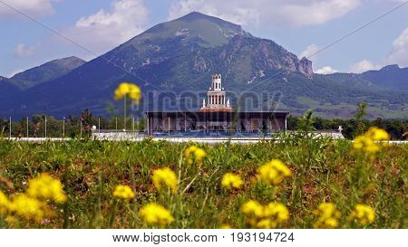PYATIGORSK,RUSSIA-JUNE 03,2012:Beautiful summer flowers on one of the largest racecourses Russia,in Pyatigorsk.