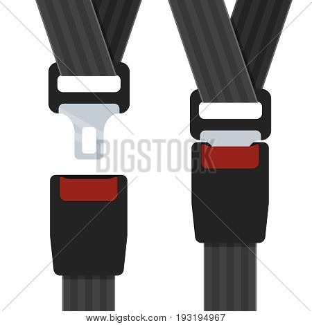 Illustration of an open and closed seatbelts on the white background.