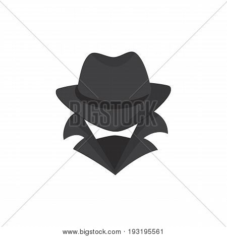 Computer hacker. An unknown man in a hat, a bandage on his face, with a raised collar. Stranger. Spy. Mafia