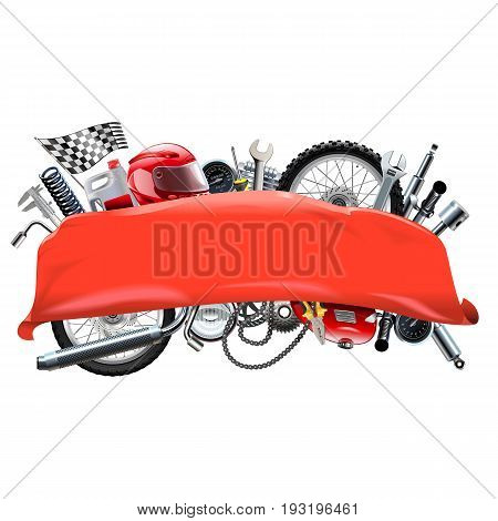 Vector Red Banner with Motorcycle Spares isolated on white background