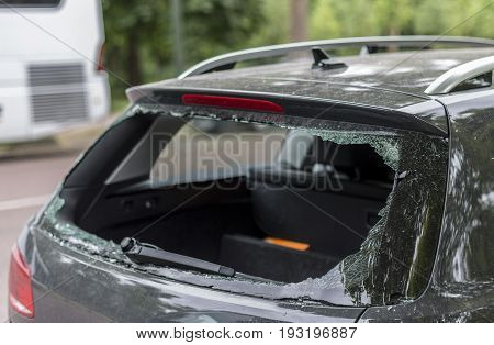Broken rear window in the car, probably robbery