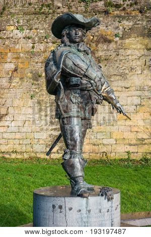 MAASTRICHT NETHERLANDS - JANUARY 16 2016: Statue of d'Artagnan. The famous musketeer in the time of Louis XIV of France described in the novel by Alexandre Dumas