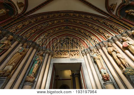 MAASTRICHT NETHERLANDS - JANUARY 09 2015: Interior of Basilica of St. Servatius. South portal. The Basilica of St. Servatius is a oldest Roman catholic church the Netherlands.