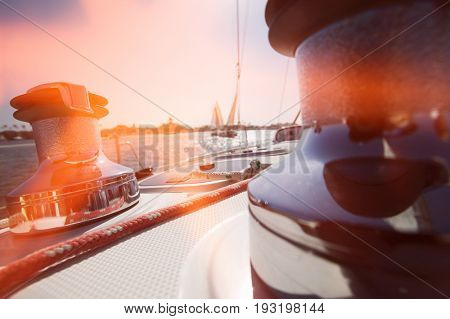 Winches and Deck of Sailboat