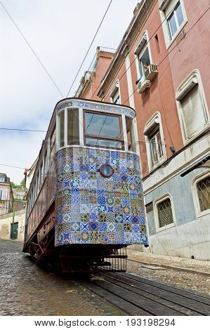 The Gloria Funicular (ascensor Da Gloria) In Lisbon, Portugal