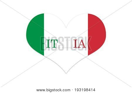 Italy Flag In Shap Of Heart. Official Colors And Proportion. Isolated On White Bacground Illustratio